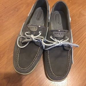 Sperrys! Gray with silver polka dots. Size 8.5